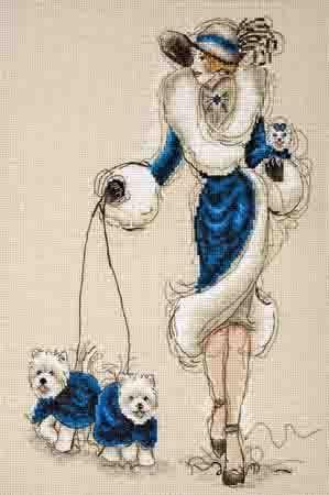 Схема вышивки крестом дама с
