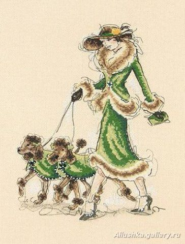 Схема вышивок крестом дама с собачками